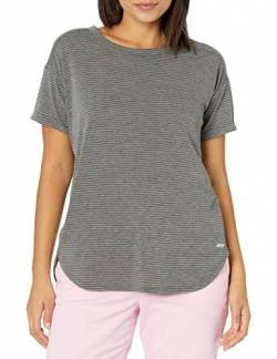 Amazon Essentials Patterned Studio Relaxed-Fit Crewneck Fashion-t-Shirts, Charcoal Heather Stripe, S von Amazon Essentials