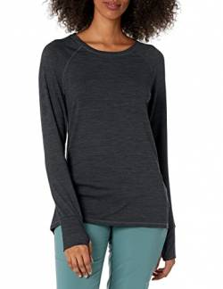 Amazon Essentials Plus Size Brushed Tech Stretch Long-Sleeve Crew fashion-t-shirts, Black Space Dye, 2X von Amazon Essentials