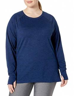 Amazon Essentials Plus Size Brushed Tech Stretch Long-Sleeve Crew fashion-t-shirts, Navy Space Dye, 2X von Amazon Essentials