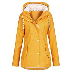 AmyGline Damen Winter Jacke Mantel Regenjacke Wasserdicht Winddicht Warme Teddyfell Gefütterte Parka Mantel Mit Kapuze Winterjacke Windjacke Outdoorjacke von AmyGline