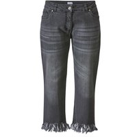 Angel of Style by HAPPYsize 7/8 Jeans Offene Kanten Knopf,Reißverschluss uni Slim Fit Baumwolle Jeanshosen anthrazit Damen Gr. 46 von Angel of Style by HAPPYsize