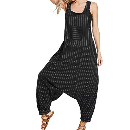 Casual /Ärmellos Latzhose Lose Baumwolle Leinen Einfarbig Lang Jumpsuit Party Overall Cdoston Sommer Damen Playsuit