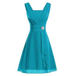 Ansenesna Kleid Damen Hochzeit Festlich Kurz A Linie Elegant Vokuhila Abendkleider Frauen Ärmellos Mini Brautjungfernkleid Party Rockabilly Cocktailkleid (Blau,XXL) von Ansenesna
