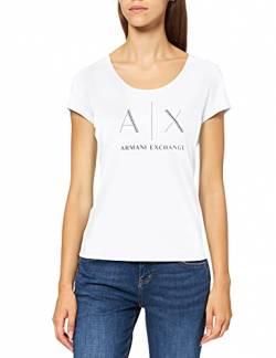 Armani Exchange Damen Strass Logo T-Shirt, Weiß (Optic White 1000), Medium (Herstellergröße:M) von Armani Exchange
