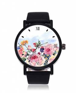 English Roses and Wildflowers Fashion Damen Armbanduhr Quarz Edelstahl Lederband Casual Watch von Arrissell