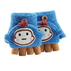 Asalinao Soft Cabrio Flip Top Handschuhe Kinder Baby Winter Warm Strick Fingerless Mitten, Süße Cartoon warme Handschuhe für Kinder, süße Handschuhe für Kinder von 1-3 Jahren (Blau) von Asalin