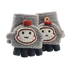 Asalinao Soft Cabrio Flip Top Handschuhe Kinder Baby Winter Warm Strick Fingerless Mitten, Süße Cartoon warme Handschuhe für Kinder, süße Handschuhe für Kinder von 1-3 Jahren (Grau) von Asalin
