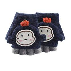 Asalinao Soft Cabrio Flip Top Handschuhe Kinder Baby Winter Warm Strick Fingerless Mitten, Süße Cartoon warme Handschuhe für Kinder, süße Handschuhe für Kinder von 1-3 Jahren (Marine) von Asalin