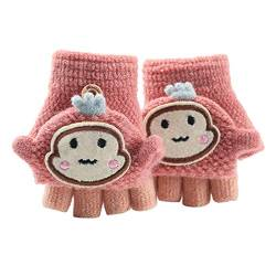 Asalinao Soft Cabrio Flip Top Handschuhe Kinder Baby Winter Warm Strick Fingerless Mitten, Süße Cartoon warme Handschuhe für Kinder, süße Handschuhe für Kinder von 1-3 Jahren (Rosa) von Asalin