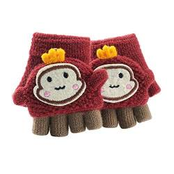 Asalinao Soft Cabrio Flip Top Handschuhe Kinder Baby Winter Warm Strick Fingerless Mitten, Süße Cartoon warme Handschuhe für Kinder, süße Handschuhe für Kinder von 1-3 Jahren (rot) von Asalin