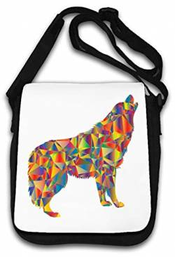 Abstract Enraged Howling Wolf Color Art Schultertasche von Atprints
