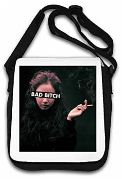 Bad Bitch Smoking Cigarette Photo Art Schultertasche von Atprints