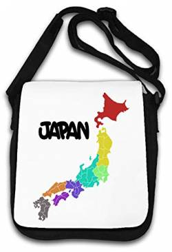 Colorful Japan Island Map Stylish Art Schultertasche von Atprints