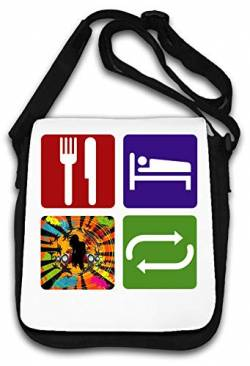 Eat Sleep Rave Repeat Dance Music stylish Hipster Schultertasche von Atprints
