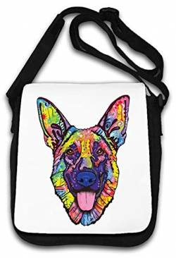 German Shepherd Colorful Watercolor Good Boy Art Schultertasche von Atprints