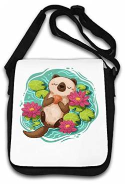Happy Sleeping Otter Colorful Flowers Nature Schultertasche von Atprints