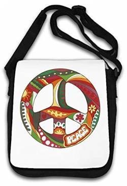 Hippie Styled Flowers Peace Artwork Graphic Schultertasche von Atprints