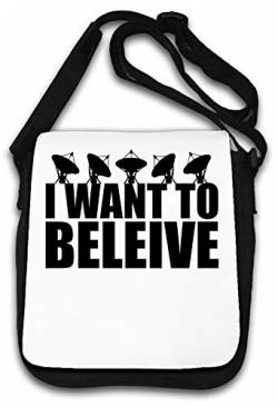 I Want to Believe Sarcastic Funny Slogan Schultertasche von Atprints
