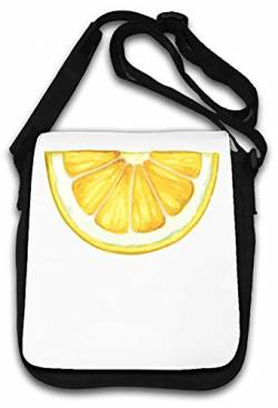 Lemon Cross Section Watercolor Fruit Graphic Schultertasche von Atprints