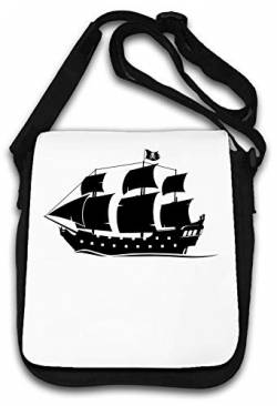 Pirate Ship Skull and Bones Flag Artwork Schultertasche von Atprints