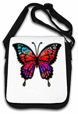 Psychedelic Trippy Butterfly Abstract Graphic Art Schultertasche von Atprints