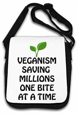 Veganism Saving Millions one bite at a time Schultertasche von Atprints