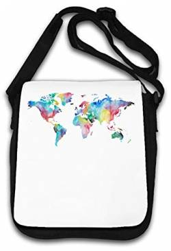 Watercolor World Map Sketch Painting Art Schultertasche von Atprints