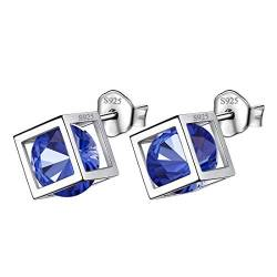 Aurora Tears September Birthstone Ohrringe 925 Sterling Silber Blue Sapphire Square Birth Stone Bolzenohrring Schmuck Geschenke für Frauen und Mädchen DE0028S von Aurora Tears