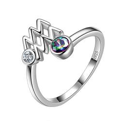 Aurora Tears Wassermann Ring Zodiac verstellbare Ringe 925 Sterling Splitter Mystic Rainbow Topaz Konstellation offener Ring Horoskop Schmuck Geschenk für Frauen und Mädchen DR0087P von Aurora Tears