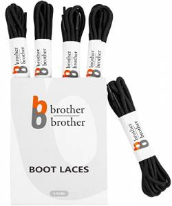 "BB BROTHER BROTHER Black Round Boot Shoe Laces (5 Pairs), Heavy Duty and Non Slip Replacement Shoelaces, 3/16"" Thick 3.5mm Shoe Strings for Men's and Women's Work, Hiking, Winter, Walking Boots von BB BROTHER BROTHER"