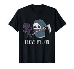 Kawaii Grim Reaper I Love My Job Sensenmann Goth Halloween T-Shirt von BCC Halloween Shirts