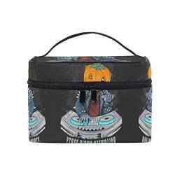 Holloween Music Party Schwarz Makeup Tasche Organizer Kosmetikkoffer Kosmetiktasche Kulturbeutel Groß Bag für Mädchen Frauen Damen von BEUSS
