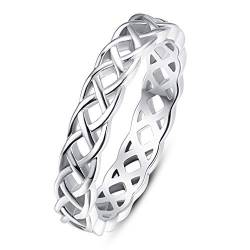 BONLAVIE 4mm 925 Sterling Silber Eternity Ring Keltischer Knoten Ring Stapelbar Hochzeit Bands für Frauen Männer Größe 52 (16.6) von BONLAVIE
