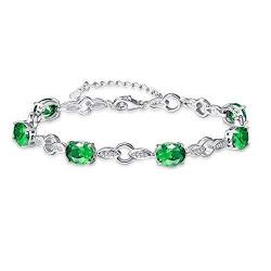 BONLAVIE Damen - 925 Sterlingsilber Sterling-Silber 925 Oval Green Smaragd von BONLAVIE