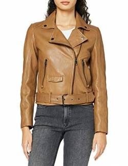 BOSS Womens Jareca Leather Jacket, Light/Pastel Brown (236), 40 von BOSS