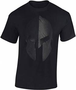 T-Shirt: Sparta Helm - Urban Streetwear - Sport Kleidung Männer Mann Frau-en - Spartan Train Hard - Gym - Fitness - Body-Building - Muscle-Shirt - Kraft - MMA Fight Boxer Kampfsport - Athletic (S) von Baddery