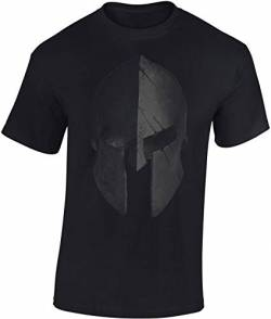 T-Shirt: Sparta Helm - Urban Streetwear - Sport Kleidung Männer Mann Frau-en - Spartan Train Hard - Gym - Fitness - Body-Building - Muscle-Shirt - Kraft - MMA Fight Boxer Kampfsport - Athletic (XXL) von Baddery