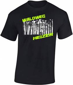 T-Shirt: Waldweg Heizer - Fahrrad Geschenke für Damen & Herren - Radfahrer - Mountain-Bike - MTB - BMX - Biker - Rennrad - Tour - Outdoor - Downhill - Dirt - Freeride - Trail - Cross, Schwarz, XL von Baddery