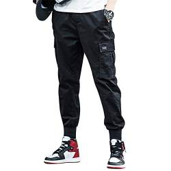 BaronHong Korean Fashion Men Streetwear Hosen Cargo Pants Men Loose Harem Pants (schwarz, M) von BaronHong