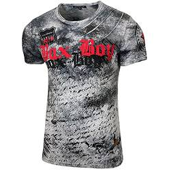 Herren Rundhals Vintage T-Shirt Kurzarm Slim Fit Design Fashion Top Print Shirt 15156-1, Größe:XL, Farbe:Anthrazit von Baxboy