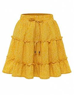 Bbonlinedress Damen Rock Röcke Sommerrock Minirock Kurz Röcke Skirts im Sommer A-Yellow Dot 2XL von Bbonlinedress
