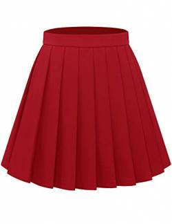 Bbonlinedress Faltenrock Rock Damen Röcke Damen Faltenrock Damen Rock Damen Mini Rock mädchen Glockenrock high Waist Rock Damen Red XL von Bbonlinedress