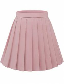 Bbonlinedress Rock Damen Röcke Damen Faltenrock Damen Rock Damen Mini Rock mädchen Glockenrock high Waist Rock Damen Blush M von Bbonlinedress