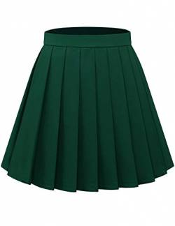 Bbonlinedress Rock Damen Röcke Damen Faltenrock Damen Rock Damen Mini Rock mädchen Glockenrock high Waist Rock Damen Dark Green L von Bbonlinedress