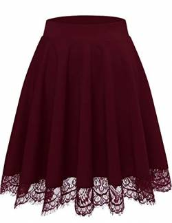 Bbonlinedress Rock Damen Röcke Damen Faltenrock Damen schwarzer Rock Damen Mini Rock mädchen Glockenrock high Waist Rock Damen Burgundy 2XL von Bbonlinedress