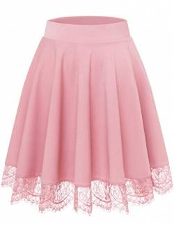 Bbonlinedress Damen Rock Basic Solide Vielseitige Dehnbar Informell Mini Glocken Gothic Rock Pink M von Bbonlinedress