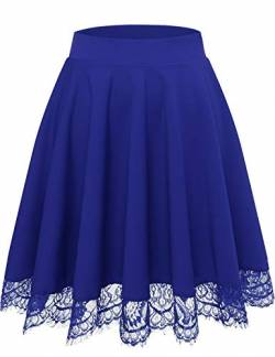 Bbonlinedress Rock Röcke Skirt Damen Basic Solide Vielseitige Dehnbar Informell Knielang Glocken Royalblue S von Bbonlinedress