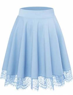 Bbonlinedress Rock Röcke Skirt Damen Basic Solide Vielseitige Dehnbar Informell Knielang Glocken Rock Blau Light Blue S von Bbonlinedress