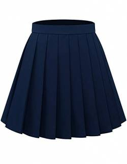 Bbonlinedress Röcke Rock Damen Skirt Skirts Mini Rock Basic Solid Vielseitige Dehnbaren Informell Minikleid Retro Sexy Rock Faltenrock Navy XL von Bbonlinedress