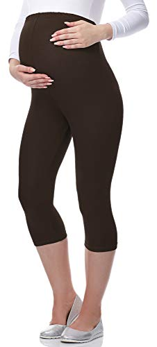 Be Mammy 3/4 Umstandsleggings aus Viskose BE-03 (Braun, M) von Be Mammy